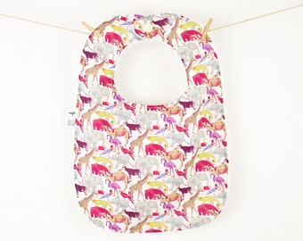 """Bib for baby, Liberty """"tail for the zoo"""" Purple, double-sided, with embroidered bow"""