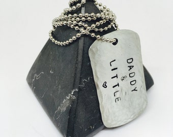 Daddy and Little, ddlg, hammered necklace, DDLG necklace, long ball chain, dog tag,  handstamped, mans necklace, mens necklace, BDSM, little