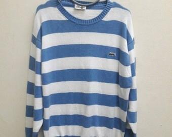 Christmas SALE 50% Vintage Knitwear Lacoste stripe Blue white sweatshirt sweater
