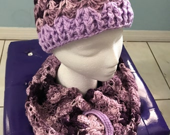 Crochet Hat and Infinity Scarf Set - Purple