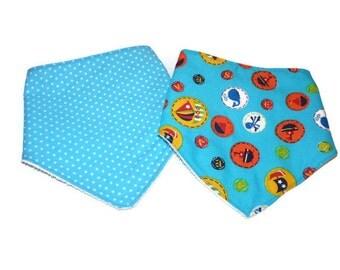 Baby boy bandana bib - set of 2 / Sea Droll bibs / Stars Dribble bibs / Blue Scarf bib / baby shower gift / baby bibs