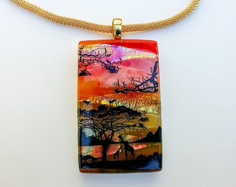 African Safari,Multicolored Dichroic Necklace.Glass Pendant,Jewelry,Fused Glass,Pendant,Metallic Glass Pendant,Gift For Women,FusionsbyLola
