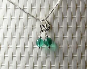 Agave Czech Glass Dangle Earrings
