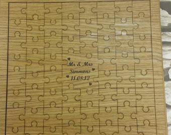 Oak Veneer Wood Wedding Guest Book Jigsaw Puzzle Pieces Memento