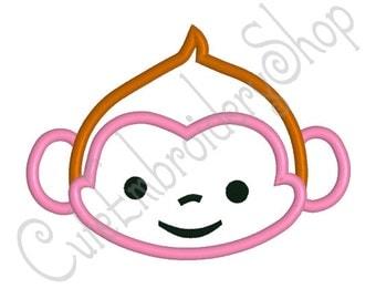 Cute Monkey applique design, Monkey embroidery, Monkey applique