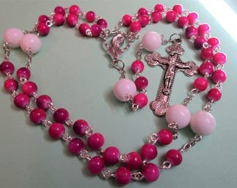 OOAK Pink glass Rosary with Large White Our Fathers, Catholic Religious Gift, Handmade