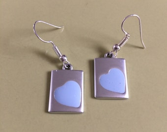 CLEARANCE - SALE  //  Powder Blue Heart Dangling Earrings  //  Silver and Powder Blue  //  925 Sterling Silver Ear Wires