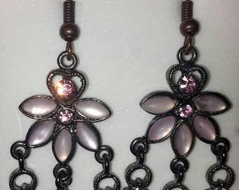 Pink jewel Chandelier Earrings