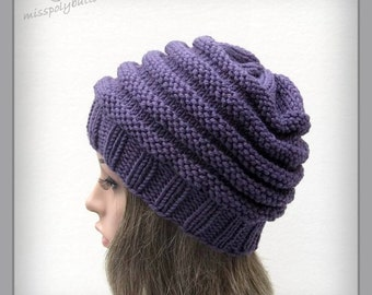 Chunky knit hat - purple knitted hat - beehive slouch hat - knit hat for women - slouchy hat - ribbed hat