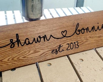 Custom Connected Hearts Carved Wood Sign Personalized Name Date Sign Wedding Anniversary