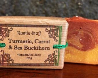 Turmeric, Carrot & Sea Buckthorn Soap, Natural Handmade Soap, Turmeric Soap, Essential Oil Soap, Carrot Oil Soap, Sea Buckthorn Oil, Rustic