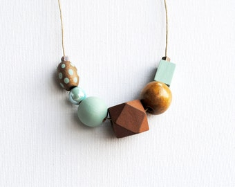 Handpainted Geometric Necklace, Pastel Statement Necklace, Color block necklace, Handmade necklace, Wooden necklace Polka dots, Mint