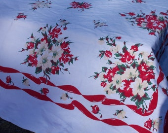 Holiday Table Cloth,California table cloth ,40's 50's style,Hostess with the Mos  tess  Film Noir   Rose Parade ,Baltimore