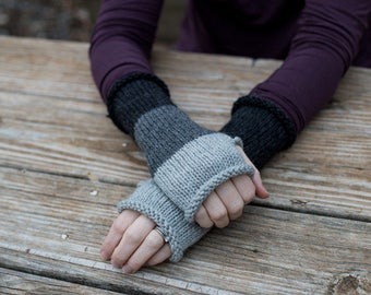 "Once Upon a Time inspired, Mad-mitter knit fingerless gloves, color block arm warmers, alpaca/wool blend, colorway - ""Underworld"""