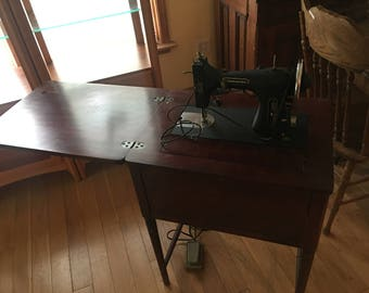 Sears Commander Rotary Sewing Machine Model No. 117.300, 1950's Sears Commander Sewing Machine & Desk,
