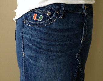 Upcycled Denim - Knee Length Jean Skirt - Miami Hurricanes U - Size 12