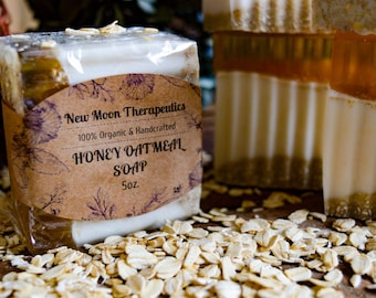 Organic Honey Oatmeal Soap - 100% Organic and Handcrafted - Soothing - Moisturizing - All Natural - 5oz Bars