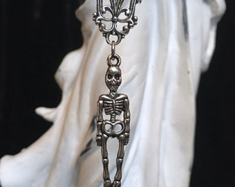 silver chain necklace with skeleton skull pendants, skull gothic