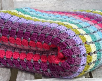 Crochet blanket kit - crochet throw - crochet afghan - beginner crochet - easy crochet pattern