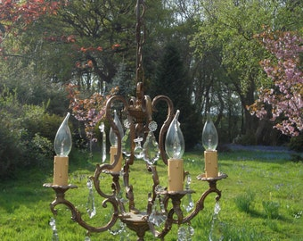 very pretty petite vintage French bronze 4 arm  cage chandelier with full cut drops(F6969)