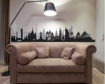 World Skyline Wall Decal Sticker