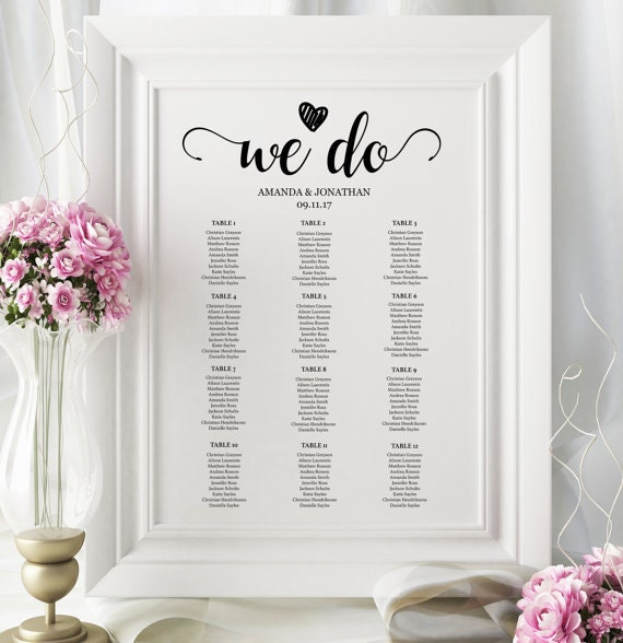 Editable wedding seating chart template - Seating Chart Printable - We Do wedding template - Downloadable wedding signs  #WDH0036