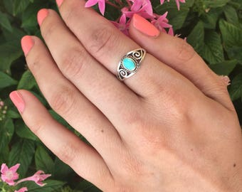 Turquoise Ring-Sterling Silver Turquoise Ring-Turquoise Scroll Ring-Silver Ring with Lab created Turquoise Stone-Dainty Turquoise Ring