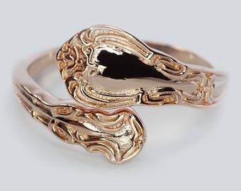Rose Gold plated over sterling silver Spoon Ring Chantilly Pattern