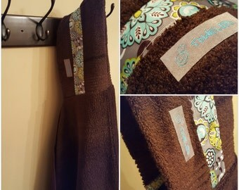 Chocolate/Teal Floral Towel-D! Hooded Bath Towel. Ready to Ship!