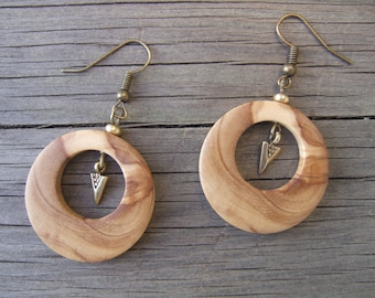Earrings wooden (olivier)