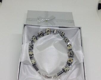 Black and grey Dalmation cube bead bracelet