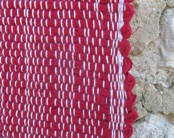 """My Heart is in Highland- 37""""x 23"""" Red Flannel Woven Rag Rug, red rag rug, red rug, rag rug, flannel rug, handwoven rug WI Badgers badger rug"""