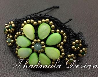 floral sea shell bracelet