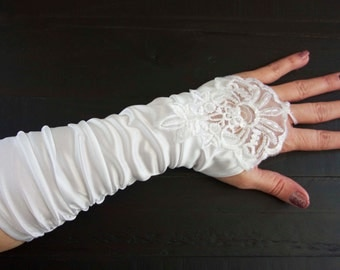 Bridal sateen Gloves with lace and pearls, Lace Formal Gloves, Lace Bridal GlovesDress Wedding Gloves, White Bridal Gloves
