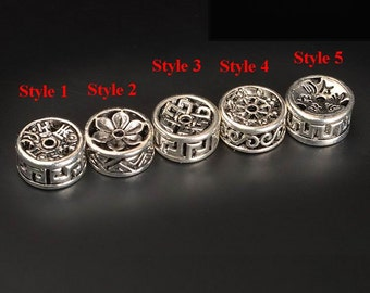 10pcs-Spacer beads antique silver tone flat round diy jewelry making material,12mmX6.5mm ,ET8245
