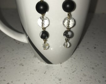 Jasper and quartz earrings