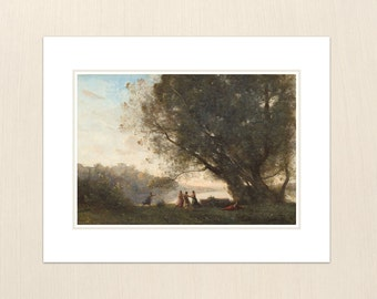 Dance under the Trees at the Edge of the Lake by Jean-Baptiste-Camille Corot - Art from the 1800s - Archival Giclee Art Painting Prints