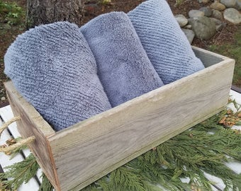 Reclaimed Barn Style Weathered Wood box planter rustic farmhouse w Rope handles