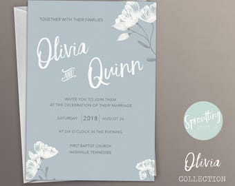 Elegant, Floral, Simply Wedding Invitation Suite, Customize with your colors! Olivia Collection