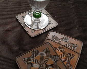 4 celtic tracery interlacing leather coasters