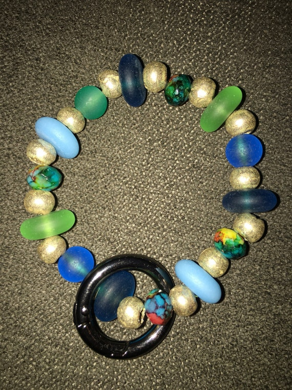 Sea glass and african hand made metal beaded keychain bracelet. Rare beads and one of a kind