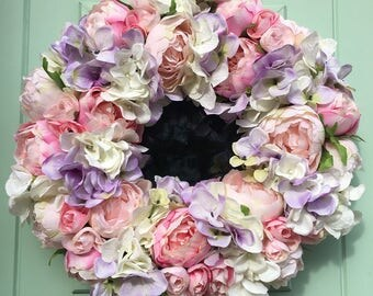 Gorgeous Pink Peony with white and lilac hydrangea door wreath