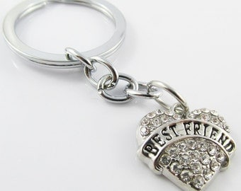 Rhinestone Best Friend Heart Charm Keychain Keyring 76mm (KC059)