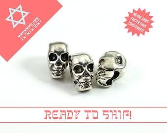 Skull Bead, Silver Skull Bead, Skull Charm, Small Skull Charm, Silver Skull Charm, Silver Skull Bead, Silver Skull Beads, Silver Skull Charm