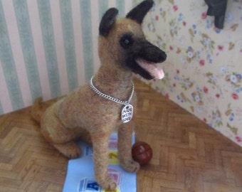 Reno -  Belgian shepherd dog - OOAK, artist dog, miniature dog, vintage dog, dollhouse dog, tiny puppy, Blythe dog, art dog,