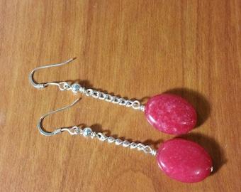 Red agate stone dangle earrings.