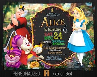 Alice Invitation Etsy - Free birthday invitations alice in wonderland