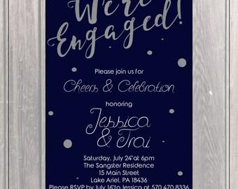 Engagment Party Invite, Custom Invite, Navy Blue, Silver Foil