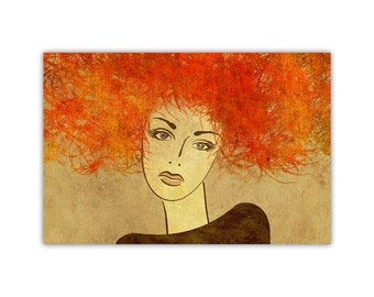 Red Head Woman, Modern Wall Decor, Canvas Print, Large Poster