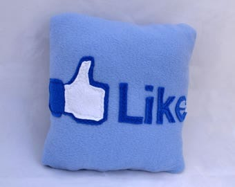 12 x 12 facebook like pillow - handmade pillow - decorative pillow - geekery pillow